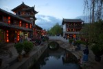 central canal and town square at sunsetLijiang, Venice of China