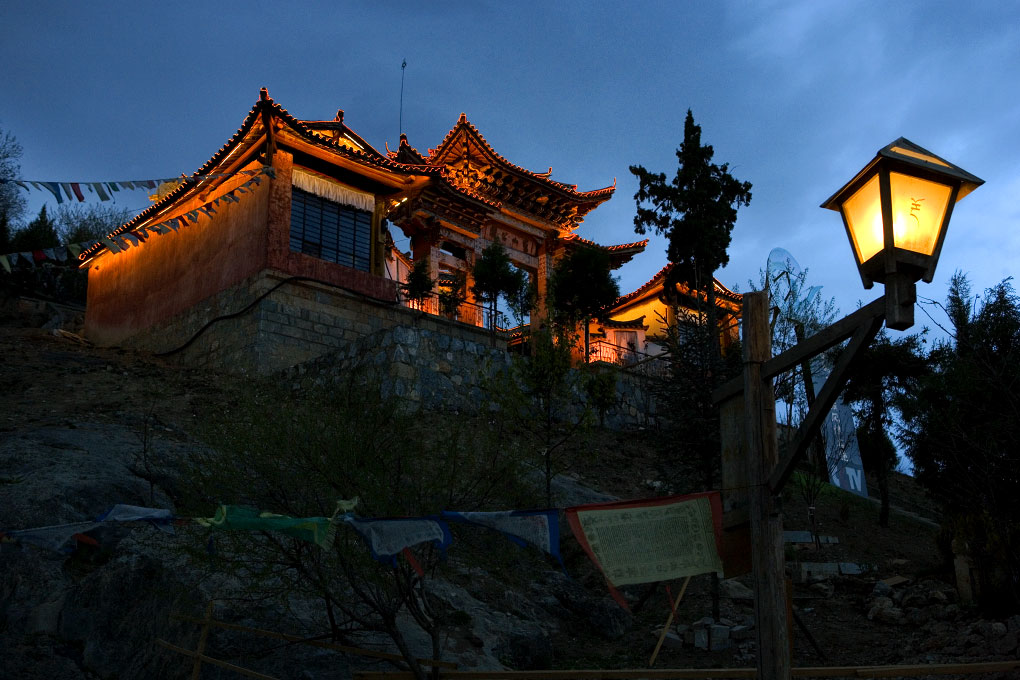 temple at twilightGyelthang (Shangri-la), China