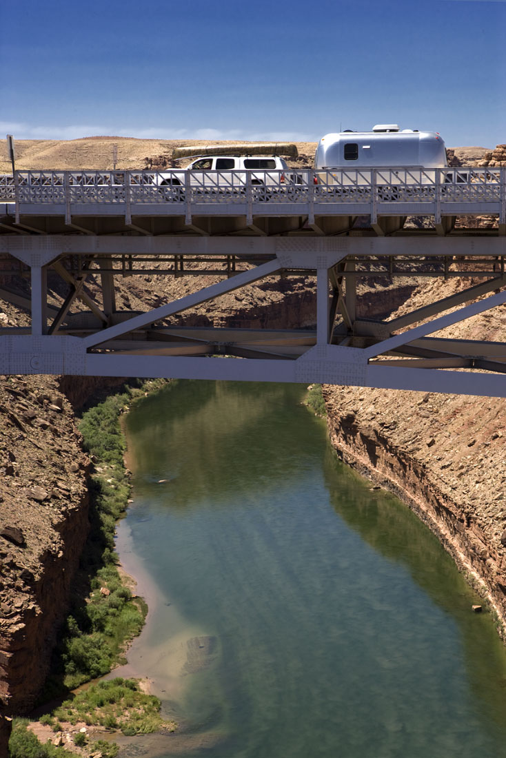 Airstream crossing Navajo Bridge over the Colorado River
