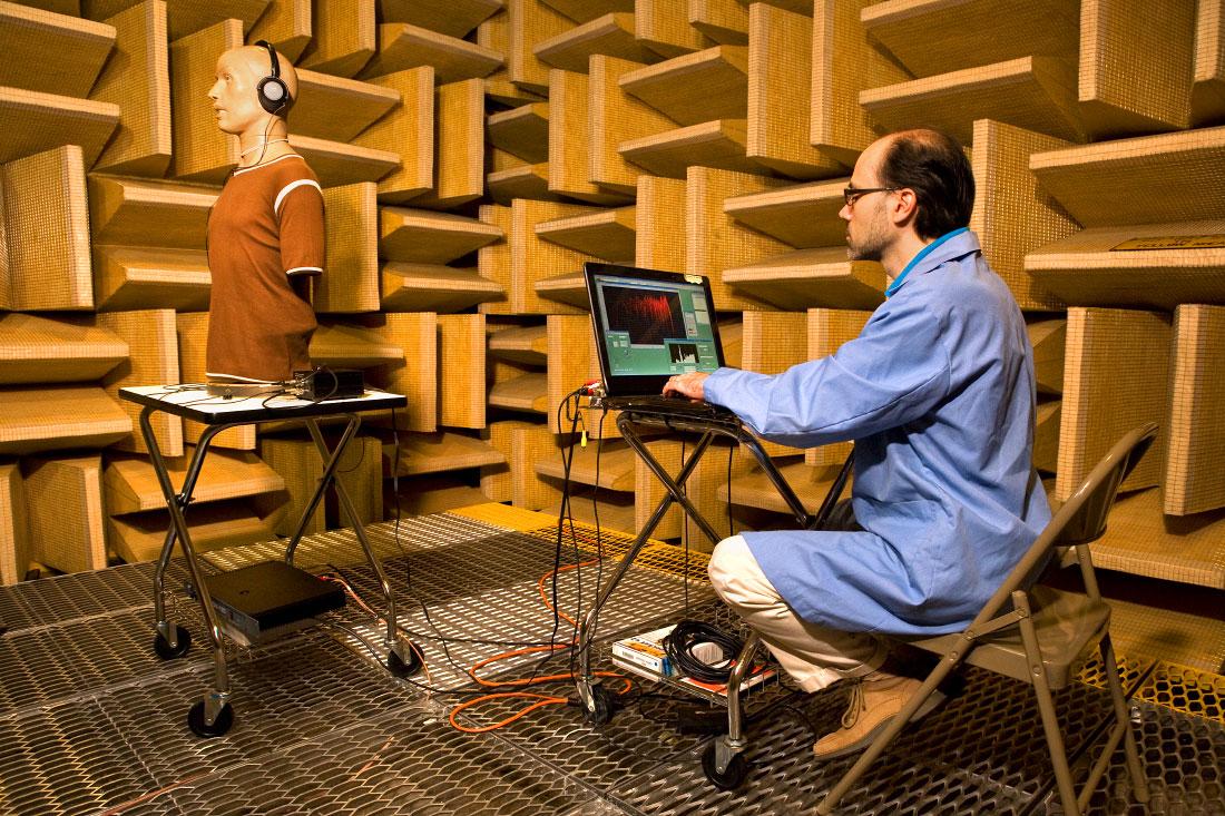 sound technicianin an anechoic chamber