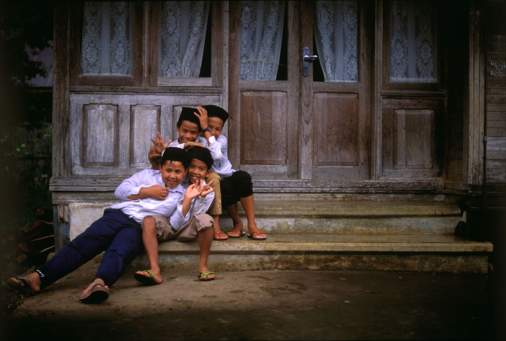 Muslim schoolboys outside a madrasBukittingi, West Sumatra