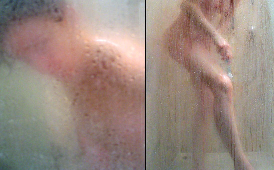 woman, shower and shave