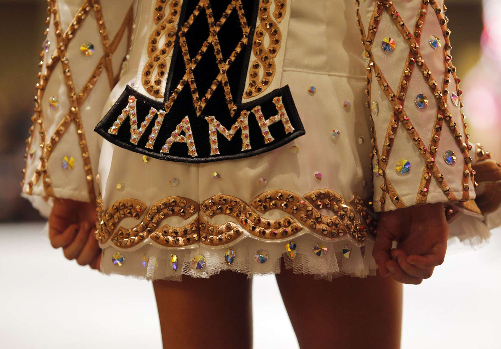 A detail is seen on the back of a competitors dress at the World Irish Dancing Championships in Boston, Massachusetts March 24, 2013.