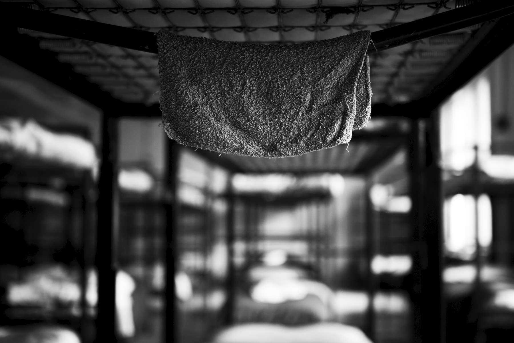 Boston, Massachusetts -- 10/21/2014-- Inside the men\'s dormitory a washcloth hung above a bed inside the Long Island Shelter.