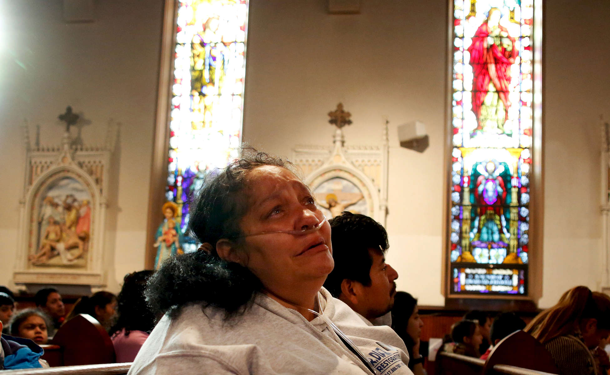 After a bout with pneumonia left Raquel on oxygen, Jose started taking her to church. At the end of mass the children's choir starts to sing and Raquel breaks down, {quote}I miss my babies.{quote} she says quietly.