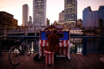 <p>Martin Rohrmeier, of Germany plays on a street piano across from the Boston Tea Party during the last day of Celebrity Series of Boston
