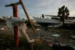 Debris caused by Hurricane Ike is strewn about a trailer park in Galveston, Texas September 14, 2008.
