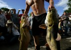 A noodler competing in the Okie Noodling Tournament carries his catfish in to be weighed in Pauls Valley, Oklahoma June 30, 2007. Noodling is the sport of fishing by hand as opposed to using a rod and reel.