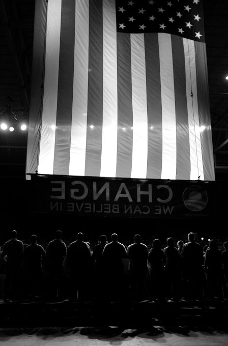 Supporters stand on stage behind democratic presidential candidate Senator Barack Obama (D-IL) speaks at a rally in Selma, Texas February 29, 2008.