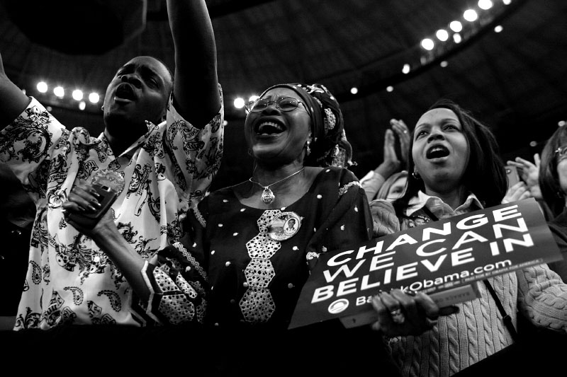 Supporters cheer as Democratic presidential candidate Senator Barack Obama (D-IL) speaks at a rally in Fort Worth, Texas February 28, 2008.