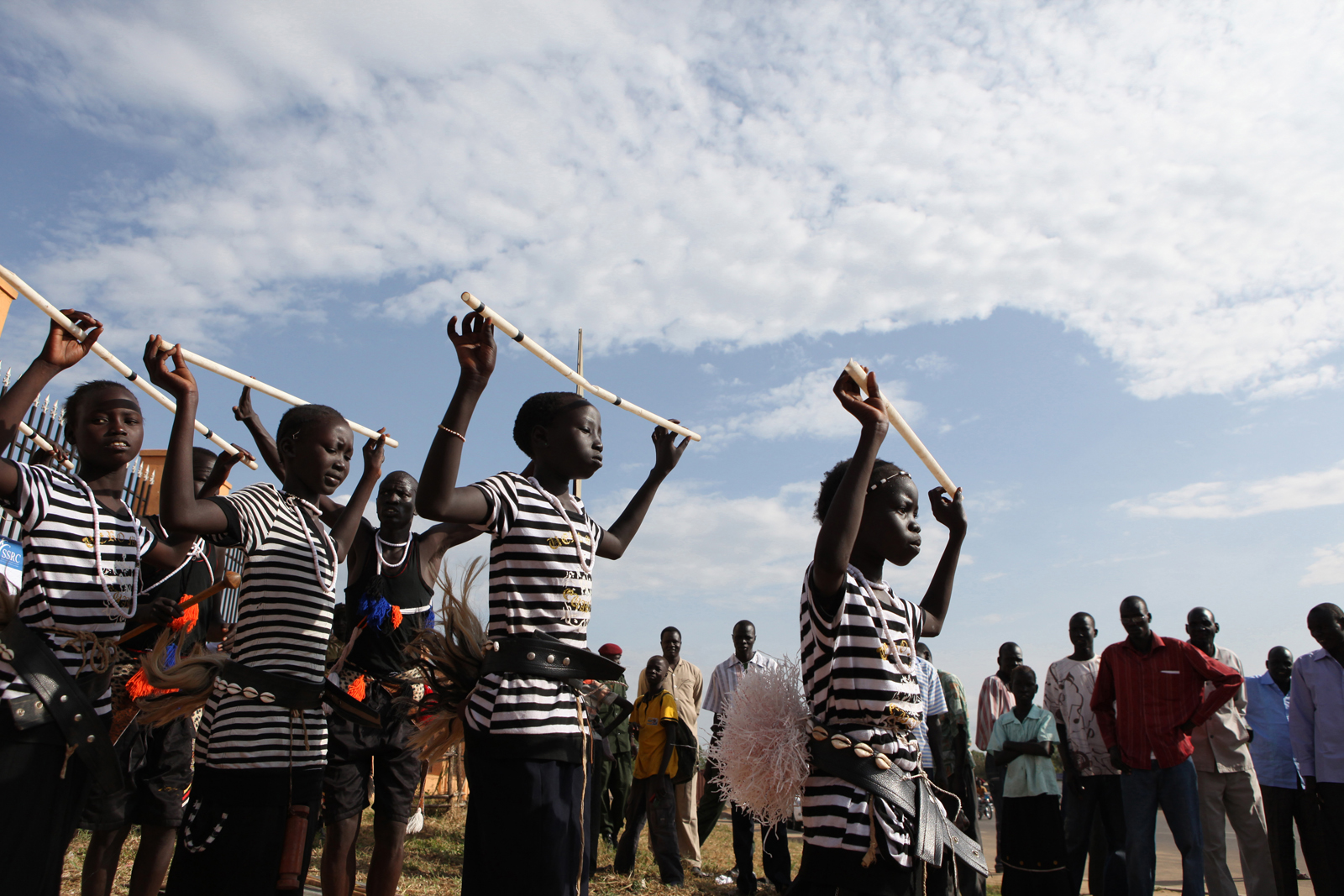 Nuer tribal dancers celebrate the launch of Voter Registration for the January 9th Referendum, on 15 November 2010 at the John Garang Memorial site in Juba, South Sudan. The Referendum is an opportunity for the South Sudanese people to cast their vote for self-determination, and either stay united with the Republic of Sudan or secede and form their own state. After independence on July 9, 2011, South Sudan became the 54th African nation.