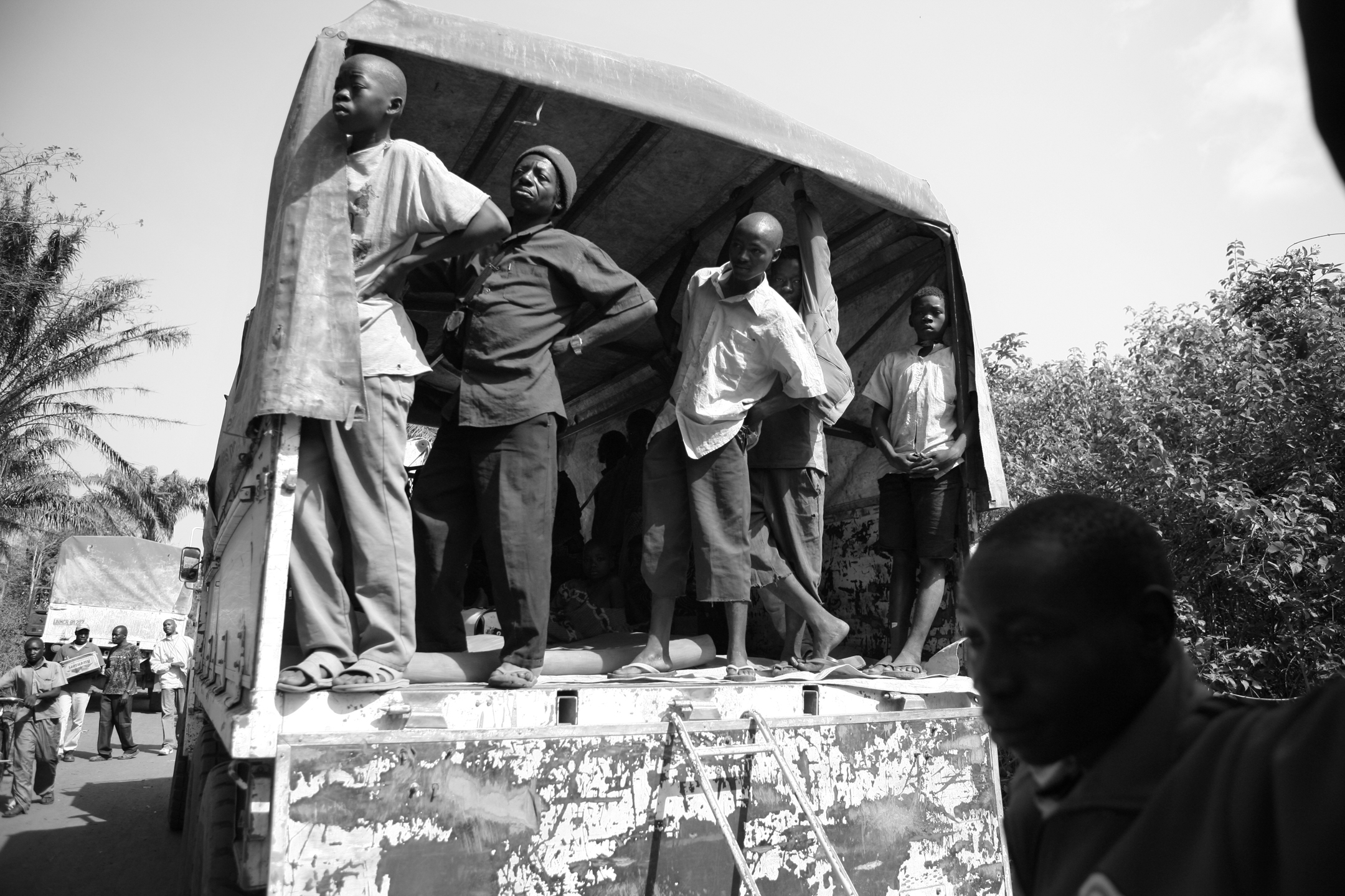 Congolese refugees travel by truck from Gangura, 6 miles from the northern border of DRC, to the newly created UNHCR site in Makpandu. Many hope to be reunited with family and friends upon arrival.