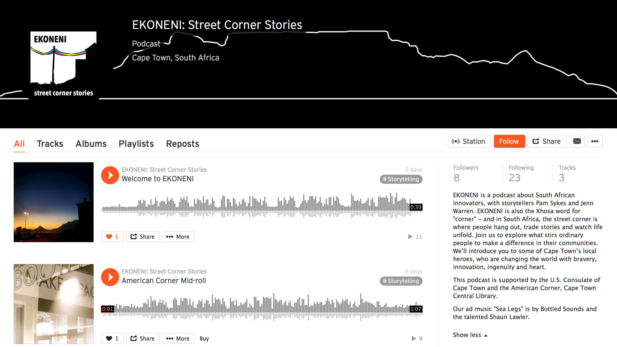 EKONENI is a podcast about South African innovators, by storytellers Pam Sykes and Jenn Warren. EKONENI is also the Xhosa word for {quote}corner{quote} - and in South Africa, the street corner is where people hang out, trade stories and watch life unfold. Join us to explore what stirs ordinary people to make a difference in their communities. We'll introduce you to some of Cape Town's local heroes, who are changing the world with bravery, innovation, ingenuity and heart.This podcast is supported by the U.S. Consulate of Cape Town and the American Corner, Cape Town Central Library. Ad music courtesy of Bottled Sounds and Shaun Lawler.Follow us on iTunes, Stitcher and RadioPublic.