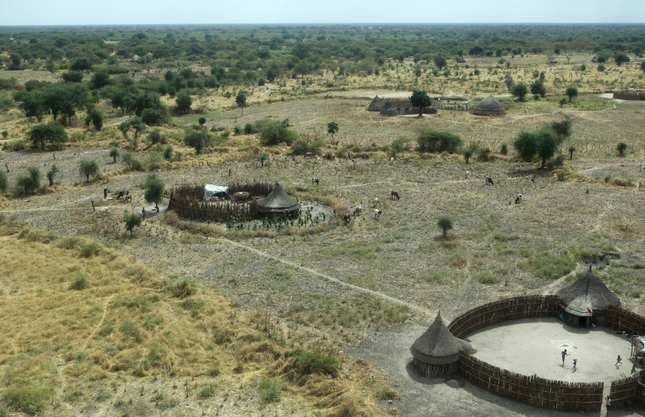 Aerial view of Pieri village, Lol Nuer territory in Jonglei State. The Lol Nuer are perpetrators of repeated cattle raids and attacks against the Dinka and Murle tribes, and the Jikany Nuer sub-tribe. Tribal violence overall in Southern Sudan has dramatically increased in 2009, with over 2000 deaths, more people than have been killed in Darfur.