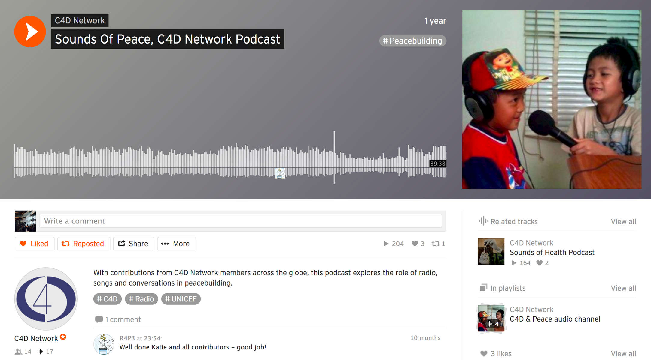 With contributions from C4D Network members across the globe, this podcast explores the role of radio, songs and conversations in peacebuilding. Produced by the C4D Network.
