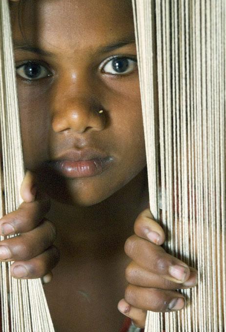 Child laborer, carpet industry.Uttar Pradesh, India