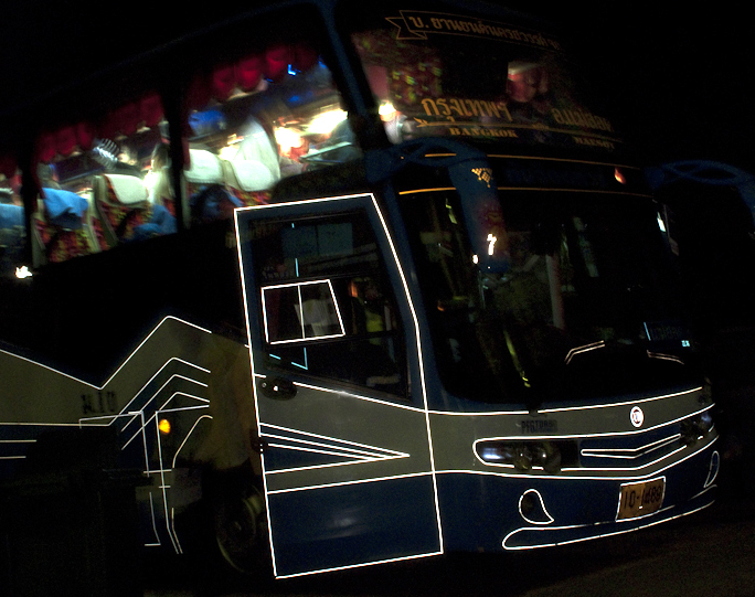 Night bus, Bangkok to Mae Sot, Thailand