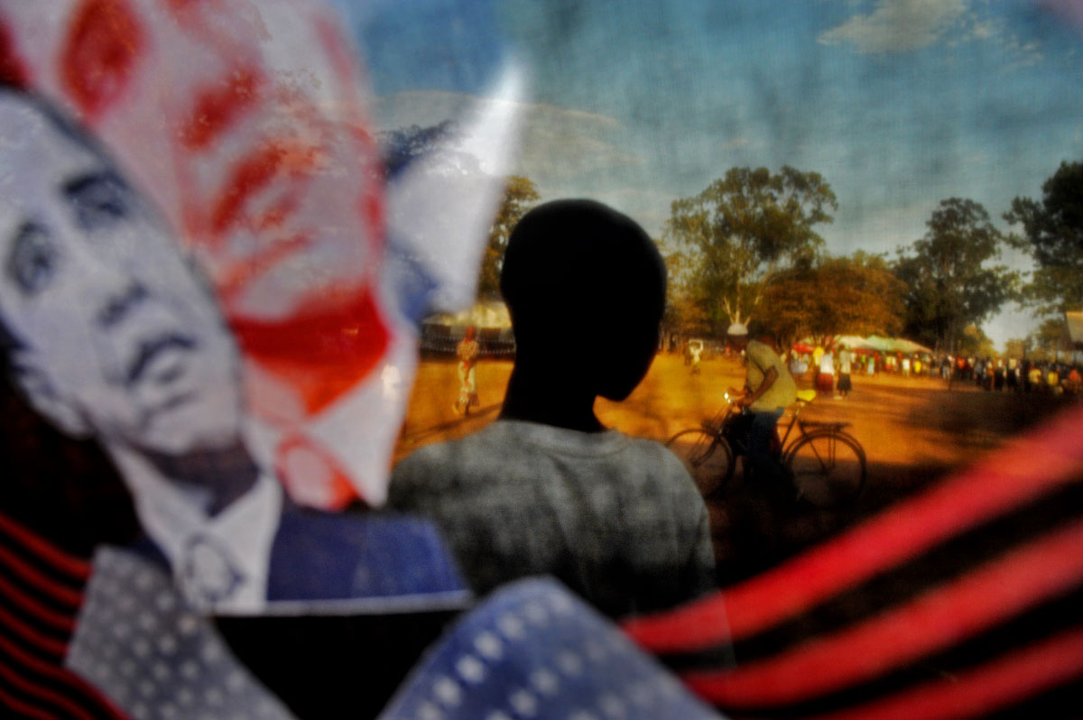 A scene shot through one of the shawls that were on sale on the grounds of the Senator Barack Obama Secondary School in Kogelo, Kenya, where the incoming US president has roots.