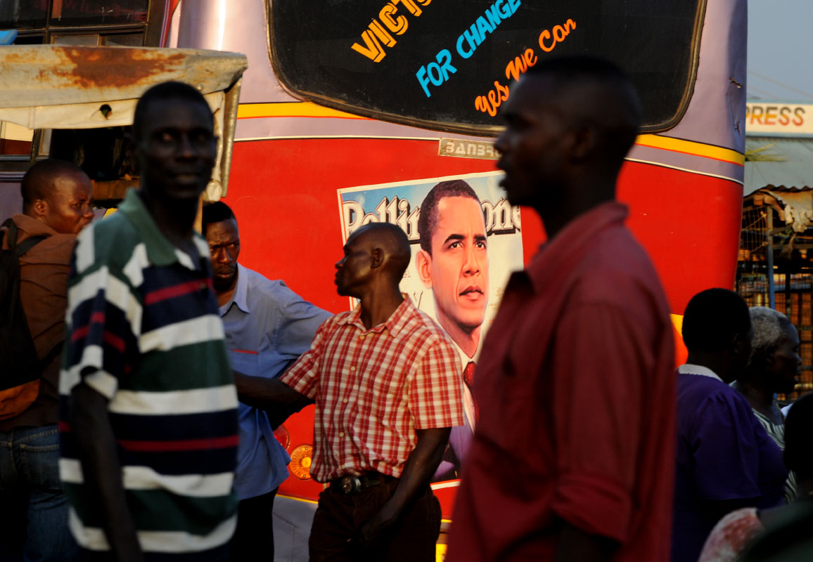 An image of president-elect Barack Obama is posted on the back of a bus in Kisumu, Kenya.  Kisumu, the country's third largest city, sits on the northeast edge of Lake Victoria.
