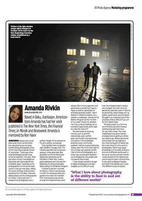 AMATEUR PHOTOGRAPHER(UK)Victims of the Ajka alumina sludge spill in Hungary in October 2010 return to the new beginnings homeless shelter.{quote}Amanda Rivkin,{quote} p. 29September 8, 2012.