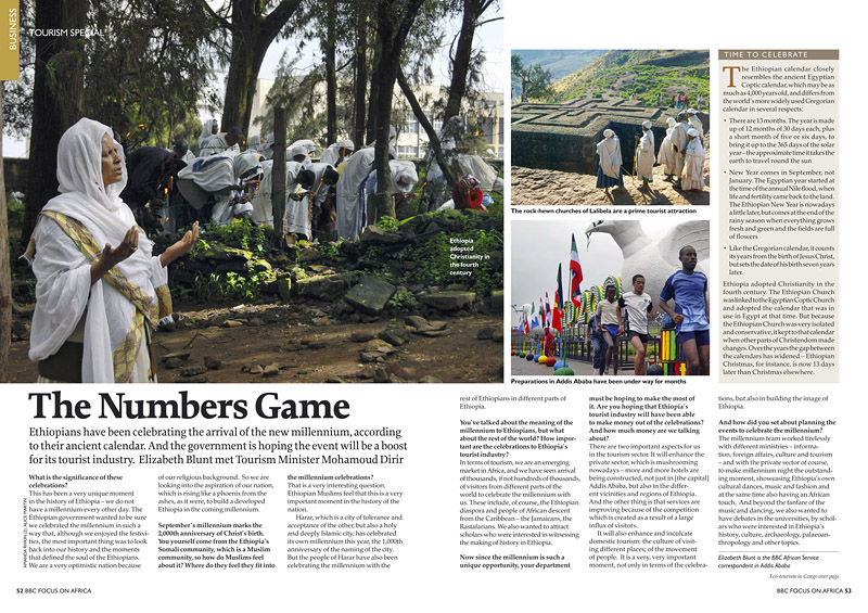 BBC FOCUS ON AFRICA (UK)Ethiopia adopted Christianity in the fourth century (left).  Preparations in Addis Ababa have been under way for months (lower right).  (Credit: Amanda Rivkin for BBC Focus on Africa){quote}The Numbers Game,{quote} p. 52-53October-December 2007.