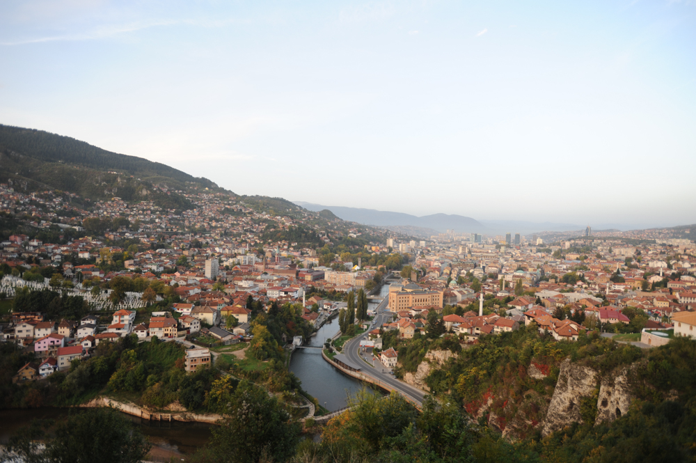 SARAJEVO, BOSNIA AND HERZEGOVINA.  A view of the Miljacka River which runs through Sarajevo from the Austro-Hungarian Jajce Barracks on October 14, 2014.  The Jajce Barracks were in use by the Yugoslav Army until 1992 and have fallen into a serious state of disrepair first due to the siege from 1992-1995 and then due to lack of care in the period after the war; at one point an investor thought to make a hotel out of the property but due to its unresolved status as military property, which falls under the jurisdiction of no other state agency, this did not happen.