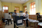 SARAJEVO, BOSNIA AND HERZEGOVINA.  A man casts his ballot in Bosnia's elections in a school classroom on October 12, 2014.  With 92 political parties and a tripartite presidency shared between a Serb, a Croat and a Bosniak, Bosnia's political system has been dubbed one of the most complex on earth.