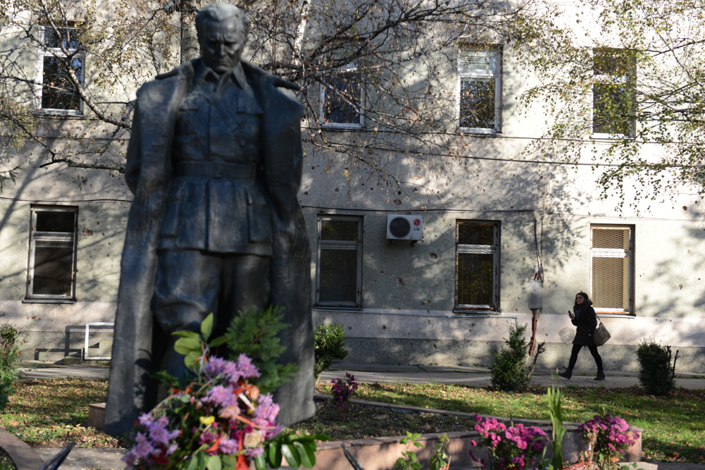 SARAJEVO, BOSNIA AND HERZEGOVINA.  A statue of Josip Broz Tito, the longest serving leader of communist Yugoslavia, stands in the middle of the campus of the University of Sarajevo on October 28, 2014.