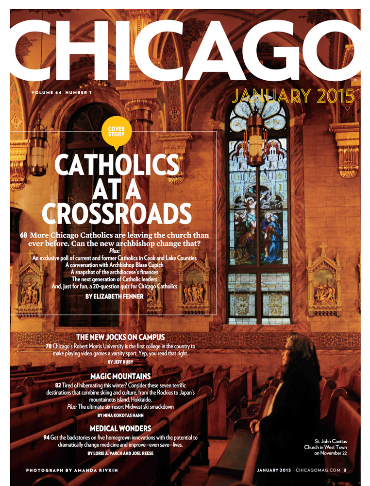 """CHICAGO MAGAZINE (USA) St. John Cantius Church in West Town on November 22. """"Catholics at a Crossroads,{quote} p. 3 January 2015."""