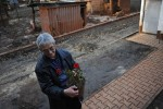 DEVECSER, HUNGARY.  Jozsef Szalai with the single rose plant salvaged from the garden of his family home on November 20, 2010 in a ruined section of Devecser in the aftermath of an industrial accident on October 4, 2010 that resulted from a rupture in a reservoir containing toxic alumina sludge in nearby Ajka, Hungary that sent hazardous red sludge gushing through Devecser and several surrounding towns.  Unlike other effected families, the Szalai family hopes to remain in their home as long as possible despite the devastation around them.