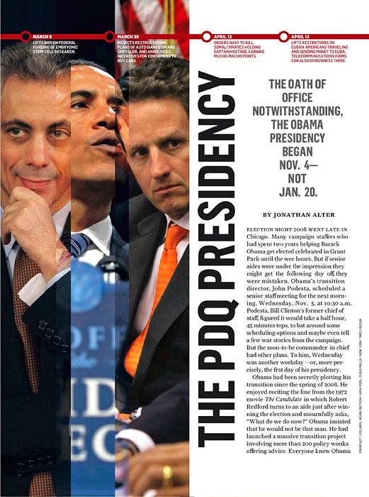 NEWSWEEK (USA)(Far left) Rahm Emmanuel.  (Credit: Amanda Rivkin/Polaris Images){quote}The PDQ Presidency,{quote} p. 36.November 2, 2009.