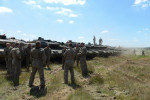 DRAWSKO POMORSKIE TRAINING AREA, POLAND.  Danish soldiers with the First Armored Battalion in German-made Leopard 2A5 tanks following a live fire exercise on June 17, 2015.  NATO is engaged in a multilateral training exercise {quote}Saber Strike,{quote} the first time Poland has hosted such war games, involving the militaries of Canada, Denmark, Germany, Poland, and the United States.