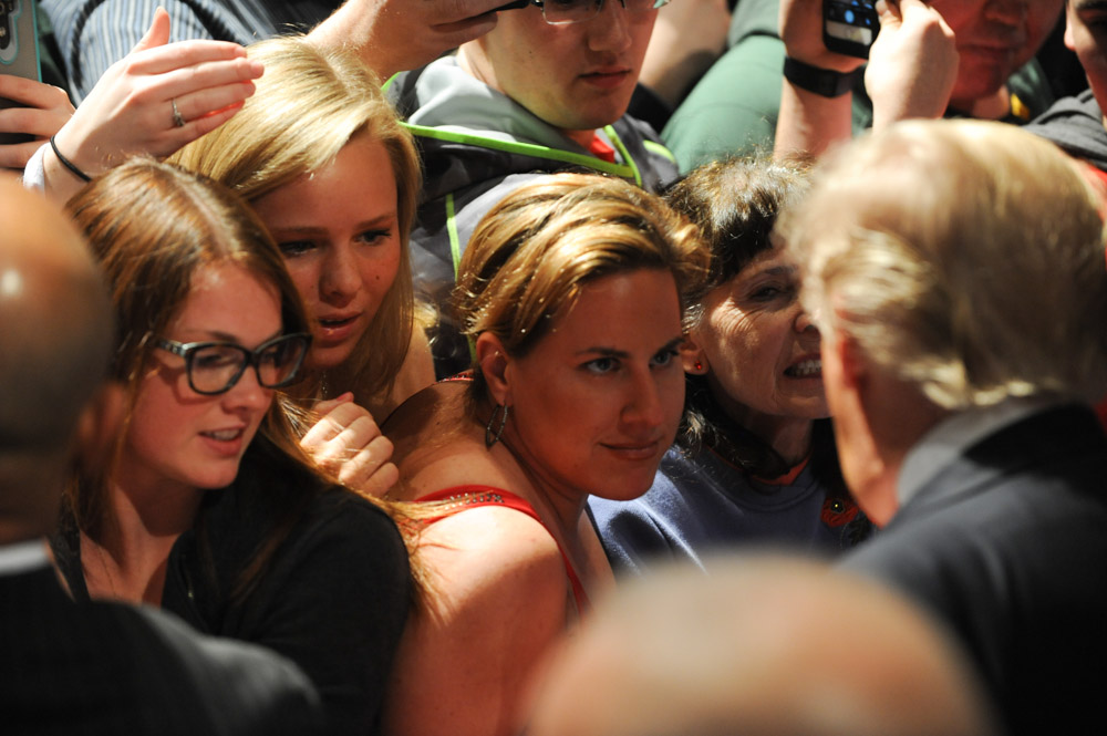 DE PERE, WISCONSIN.  A supporter of Republican presidential frontrunner Donald Trump as he signs autographs and does what is known as {quote}a rope line{quote} in the Webster Theater at St. Norbert College after he gave a speech primarily on the topic of success not his presidential campaign on March 30, 2016.