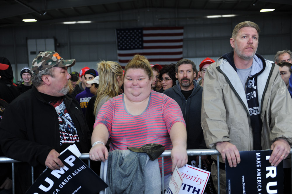BLOOMINGTON, ILLINOIS.  Trump supporters inside the Synergy Flight Center to hear Republican front runner Donald Trump speak on March 13, 2016.