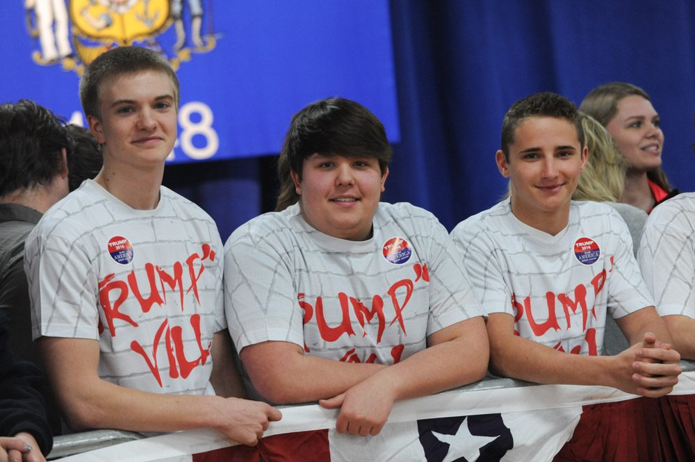 ROTHSCHILD, WISCONSIN.  Supporters of Donald Trump at his campaign event at the Central Wisconsin Convention and Expo Center on April 2, 2016.