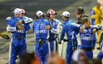 Jimmie Johnson\'s crew celebrates during Johnson\'s win during the Coca Cola 600 NASCAR race Sunday, May 25, 2014 at Charlotte Motor Speedway. Photo by JASON E. MICZEK - Special to the Independent Tribune