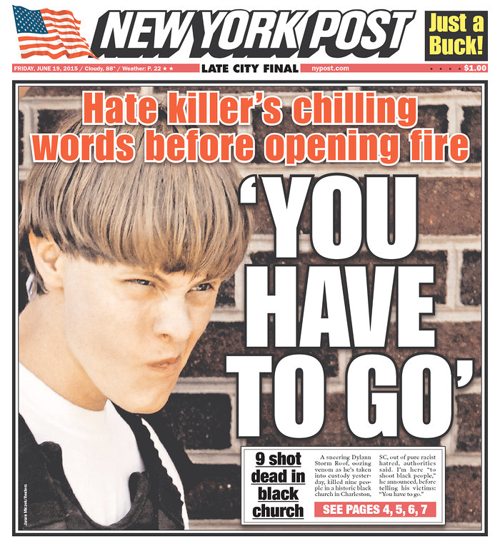 I covered the horrible Charleston murders for Reuters - this is one of the many front pages I had.