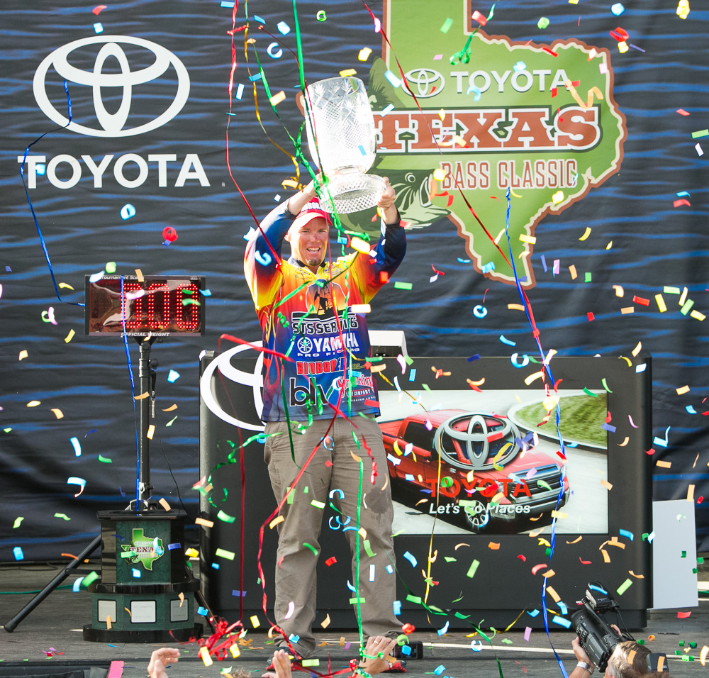 during the Toyota Texas Bass Classic at Lake Conroe in Conroe, Texas on October 6, 2013. (Photo by Jason Miczek)
