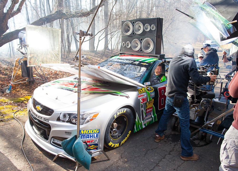 NASCAR star Dale Earnhardt, Jr. is seen behind the scenes during filming of a Mountain Dew commercial Tuesday, January, 20, 2015 in Mooresville, NC. (Jason E. Miczek / AP Images for Mountain Dew)