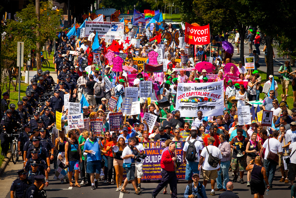 A scene of marchers leading up to the 2012 Democratic National Convention in Charlotte, NC.