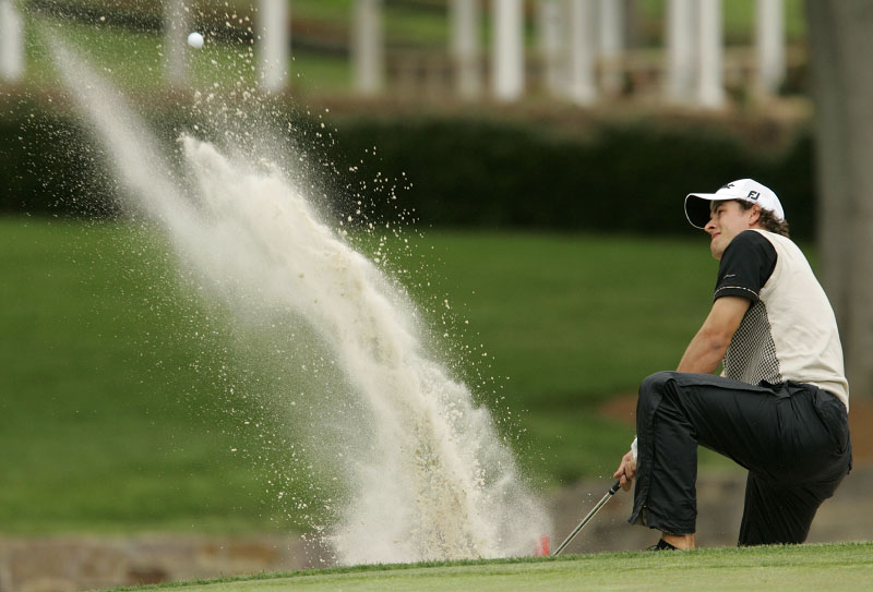 Trevor Immelman from the bunker at the Wachovia Championship.