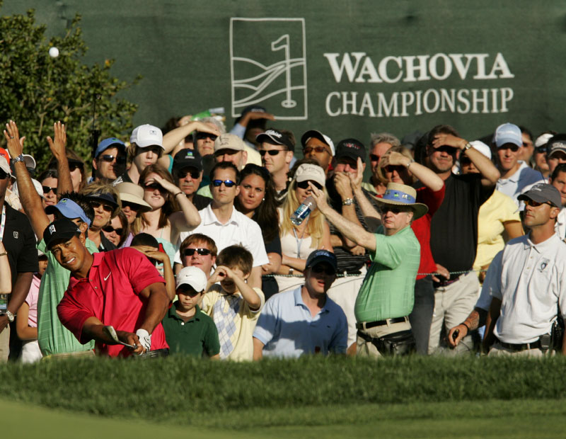 Tiger Woods chips to the 18th green at the Wachovia Championship.