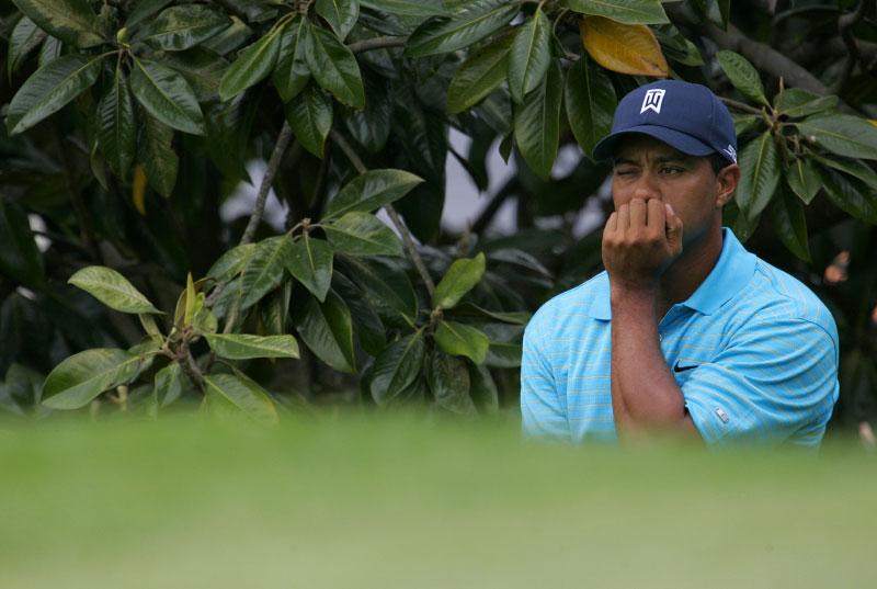 Tiger Woods looks at the fairway at the 2007 Wachovia Championship.