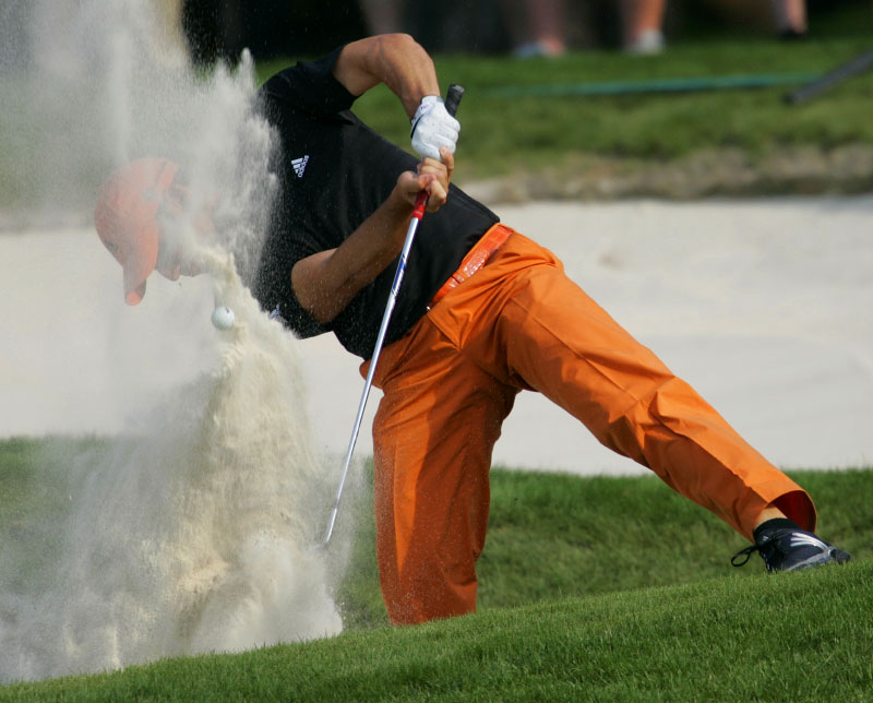 Sergio Garcia hits from the bunker at the 2007 Wachovia Championship.