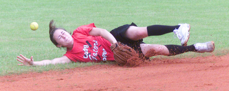 Brandi Sasser, a junior at Wewahitchka High School, dives for the ball during infield softball practice but comes up just short.