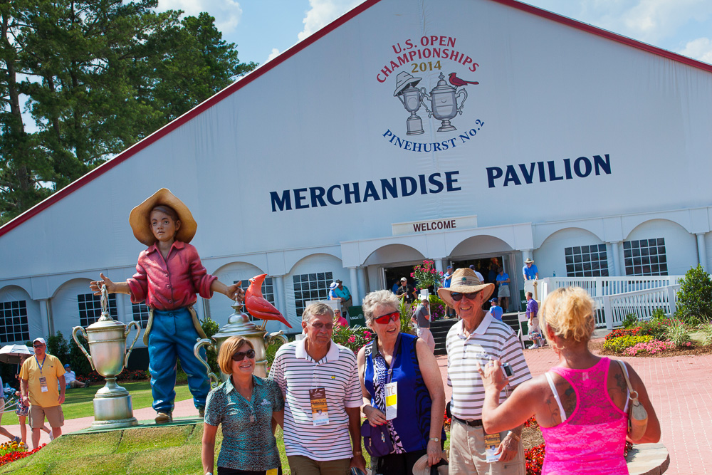 Fans outside of the merchandise tent during a practice round before the 2014 U.S. Open at Pinehurst Resort & C.C. in Village of Pinehurst, N.C. on Tuesday, June 10, 2014.  (Copyright USGA/Jason Miczek)