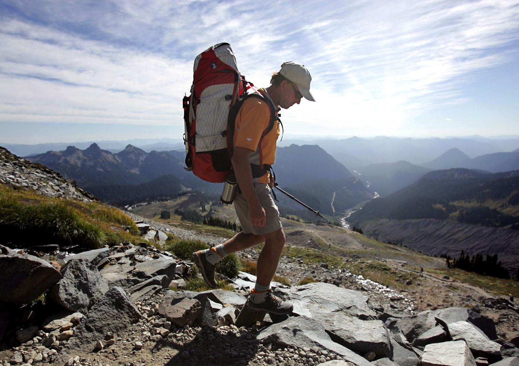 Ed Viesturs hikes on Mount Rainier.