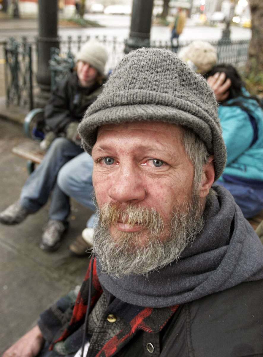 Eddie Arthurs, homeless in Seattle for three years, seen in Pioneer Square. Monday, Feb 27, 2006. Photo by Ron Wurzer