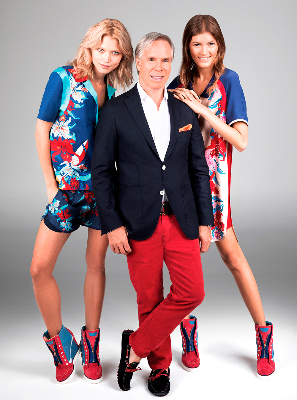 Designer Tommy Hilfiger and his models