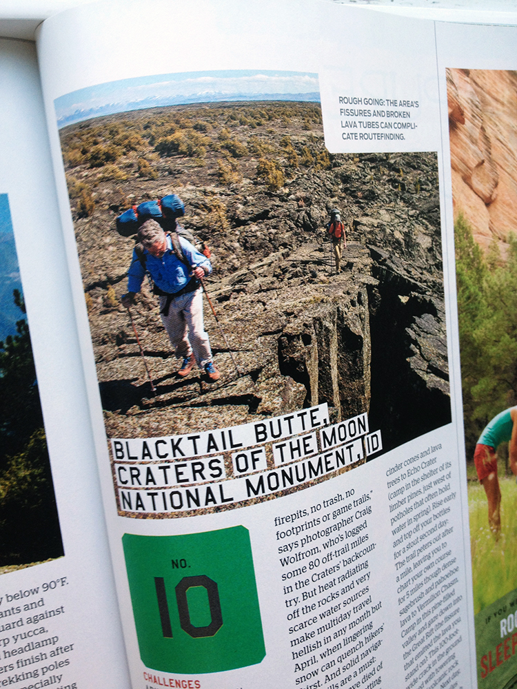 Backpacker Magazine image of Craters of the Moon, Idaho.